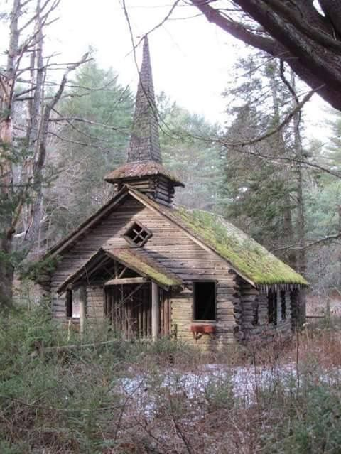 Old church in the wildwood.