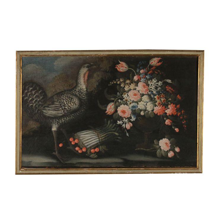 Still Life Flowers Guinea Fowl and Asparagus Oil On Canvas Start '700
