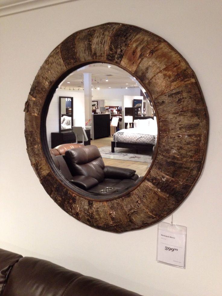 Birch bark beveled round mirror from sears.ca