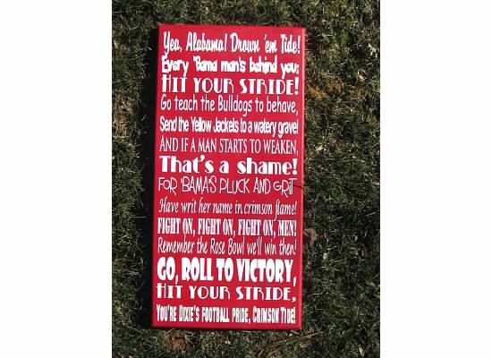 Alabama Fight Song 12x24 Crimson and Gray by smartypantzdesignz, $50.00