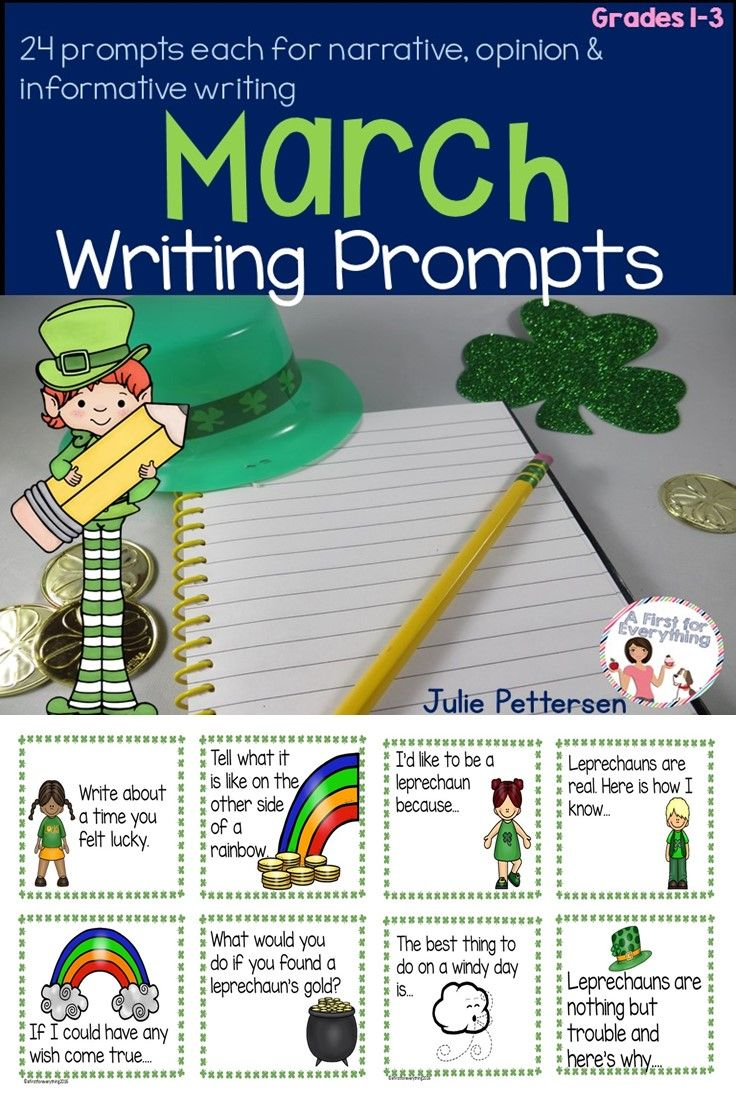 March writing prompts for first, second, third graders are the perfect addition to your writing center! Featuring 24 prompts each for narrative, informative & opinion writing, your writers are sure to always have a topic at hand. Hang them on a ring or hook, place them in a bin, or keep it as a personal mini book of topics for struggling writers. They make mini lessons during writer's workshop. Great for early finishers, to leave for a substitute, & more! {1st, 2nd, 3rd grade, ELA}