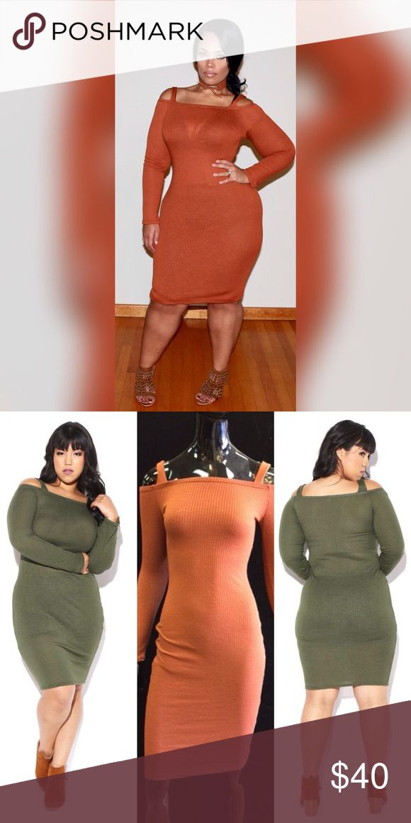🆕 Dress 💚Price FIRM UNLESS BUNDLED 💚   ** AUTUMN BROWN ONLY  Ribbed midi bodycon dress with an off-the-shoulder neckline and long sleeves.  63% Polyester 33% Rayon 4% Spandex  1X 12/14 2X 16/18 3X 20/22  ** AUTUMN BROWN ONLY Boutique Dresses Mini