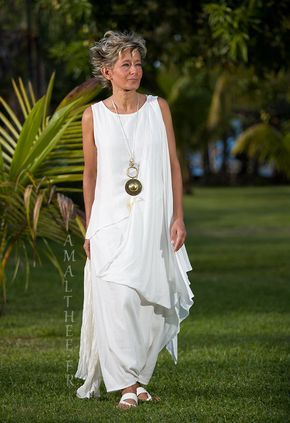 White mixed silk bridal asymmetrical drape tunic