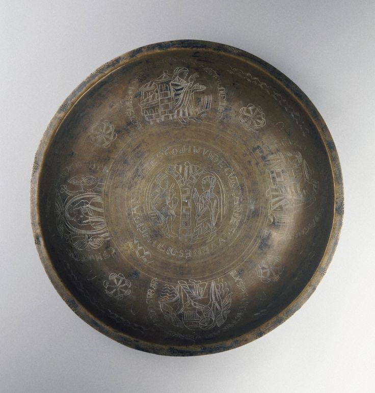 Northern European , possibly Rhenish  Place made: The Lowlands  Bowl with Pyramus and Thisbe, 12th century  Bronze  4.9 cm., diam. 29.9 cm (1 15/16 x 11 3/4 in.)