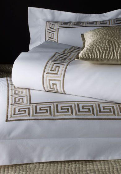 Greek Key: The eternal good looks of this classic design makes it at home in the most contemporary settings. Shown here with a coordinating silk coverlet hand-made in our Hammered Silver quilting pattern.