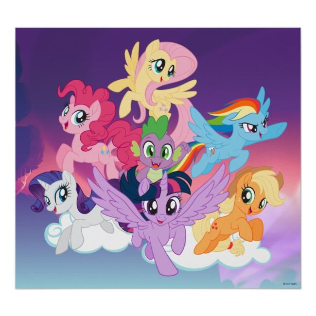my little pony mane six on clouds