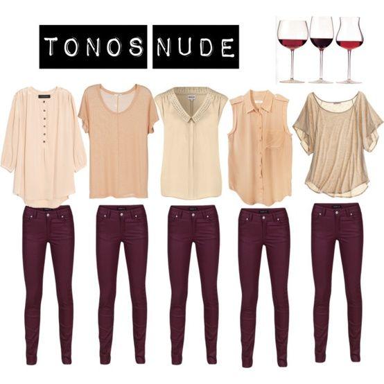 burgundy and nude