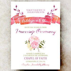 Coral Wedding Invitation - watercolor wedding invitation, floral wedding invitation, printable wedding invitation