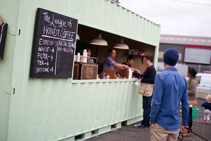 The League of Honest Coffee, Melbourne. Cute pop up inspiration - love the converted shipping container.