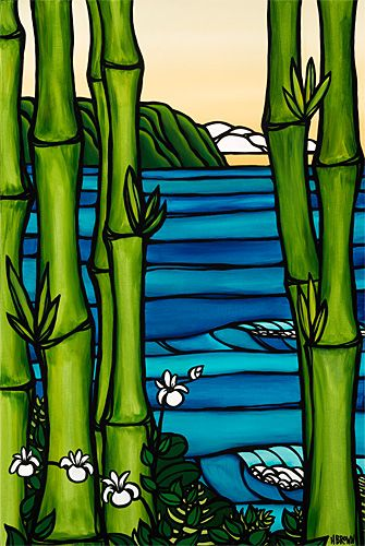 "This would make a nice glass or mosaic piece. ""Bamboo and Orchids"" by Heather Brown #surfart #surfing #art"