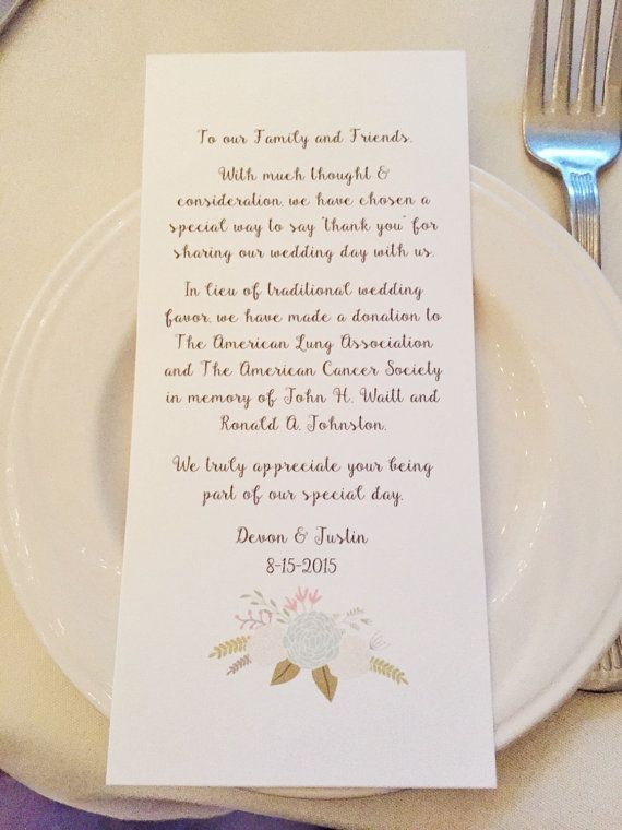 Wedding Favor Donation Card In Lieu of by ShineLikeSunbeams