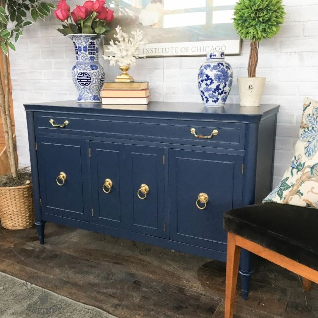 Traditional Buffet sprayed in navy lacquer - No longer available