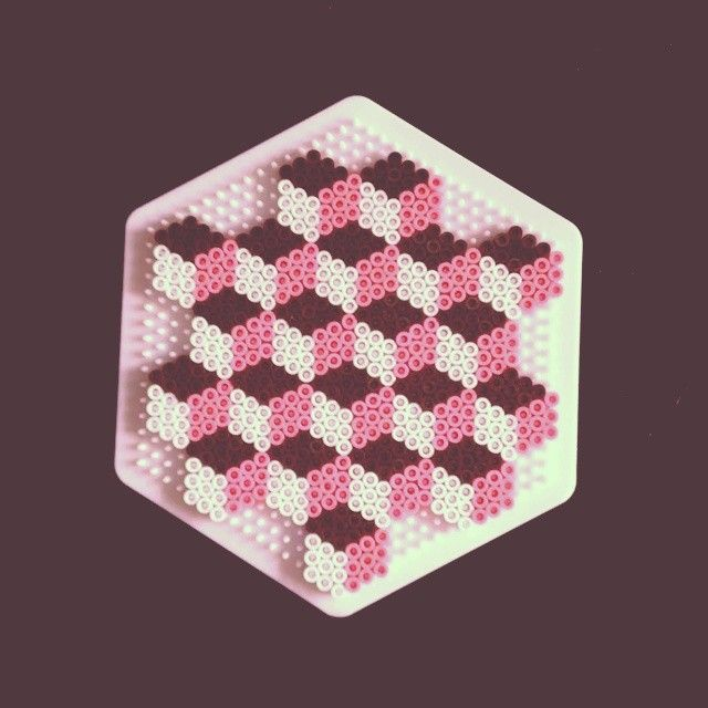 Pink/Brown/White Geometric design hama beads by demoisellecreatiff
