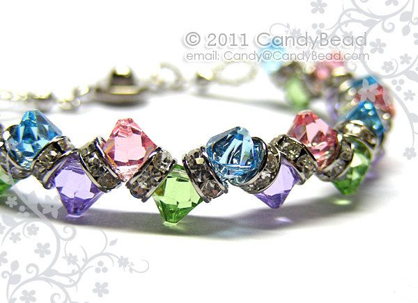 Sweet Berry Crystal Bracelet made with 6mm Swarovski crystals and silver-plated rhinestone rondelle beads.  It's suitable for your Wonderful day.