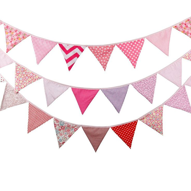 💓 3pcs/lot 12flags pink Fabric Bunting Personality Wedding Birthday Party Decoration Photo Prop Customize Home Garland
