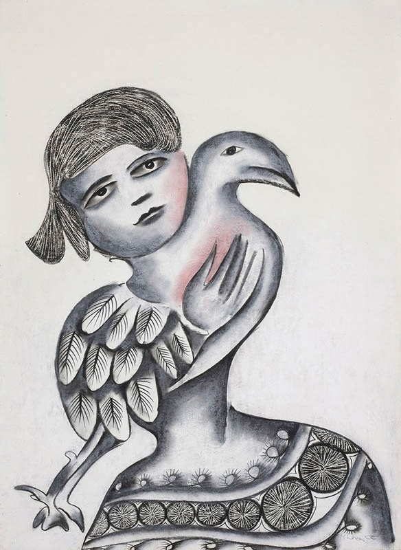 Girl and Bird 1966 Charcoal and pastel on paper:  Mirka Madeleine Mora (1928-.) Australia