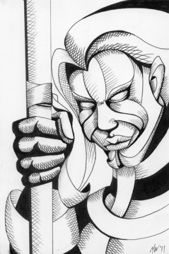 Mark Webster - Untitled Mask Pen and Ink Drawing, painting by artist Mark Adam Webster