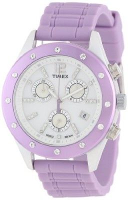 Relógio Timex Women's T2N8329J Originals Sport Chronograph Crystal Accents Purple Strap Watch #Relogio #Timex