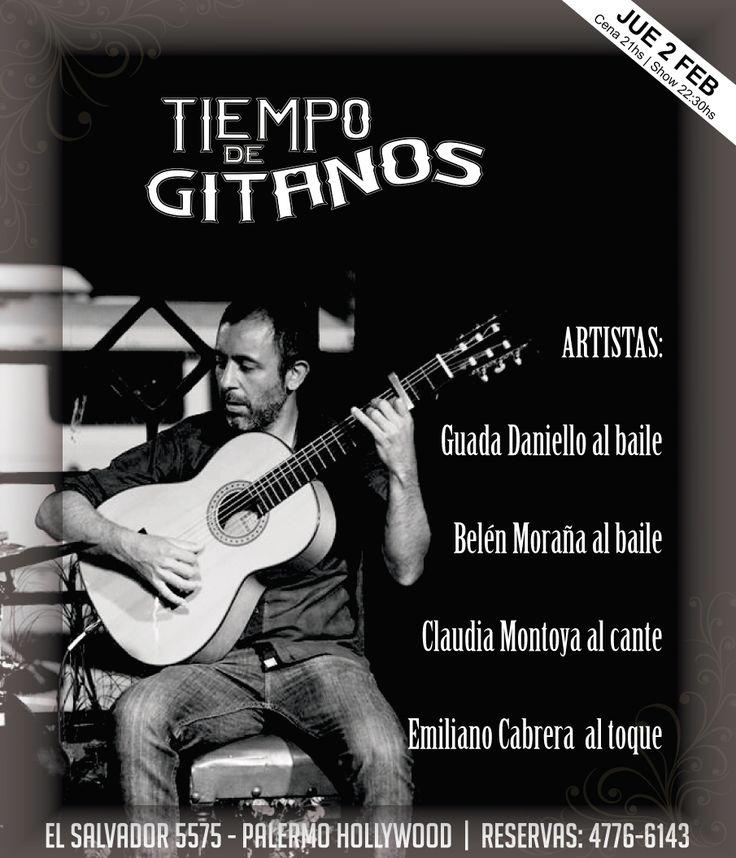 Mañana los esperamos con el show de Guada Daniello y Belén Moraña  baile, Claudia Montoya al cante y Emiliano Cabrera  al toque.   Ya podes reservar al 4776 6143
