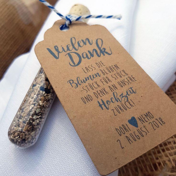 """Gastgeschenk Hochzeit Blumensamen Reagenzglas """"Denk zurück"""" – Vintagehochzeit, Tischdeko, Boho Dekoration, Klassische Hochzeitsdekoration"""