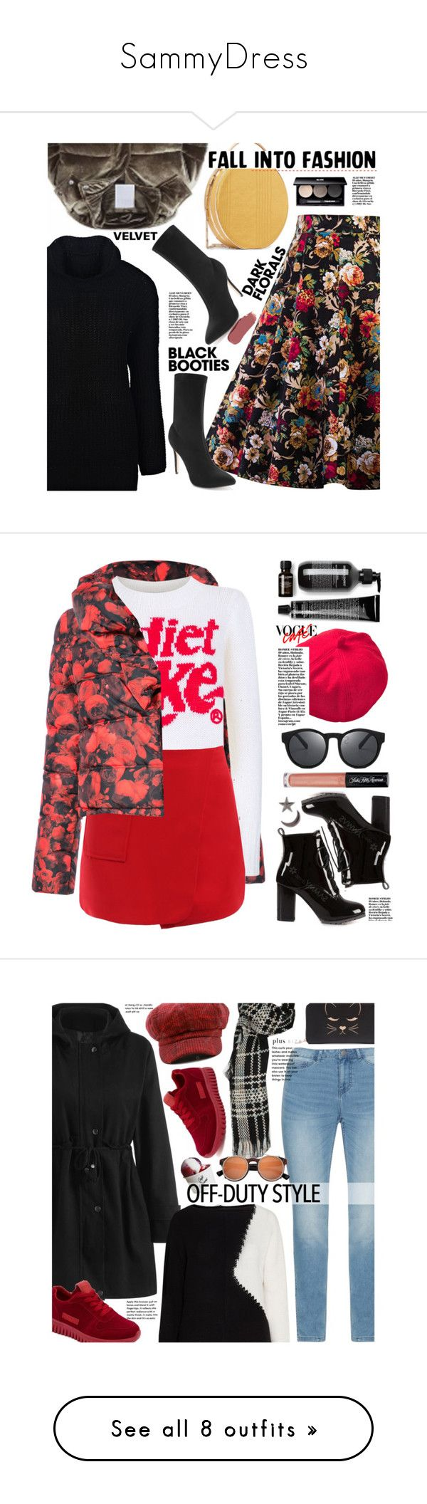 """""""SammyDress"""" by beebeely-look ❤ liked on Polyvore featuring Eddie Borgo, Ilia, Edward Bess, StreetStyle, sammydress, streetwear, blackbooties, darkflorals, Givenchy and Wildfox"""