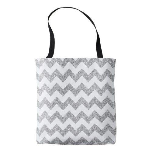 Silver Glitter Zigzag Stripes Chevron Pattern Tote Bag