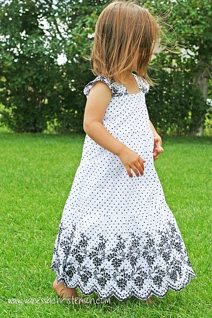 Adorable dress from ladies' skirt.  Lots of great tutorials here :)