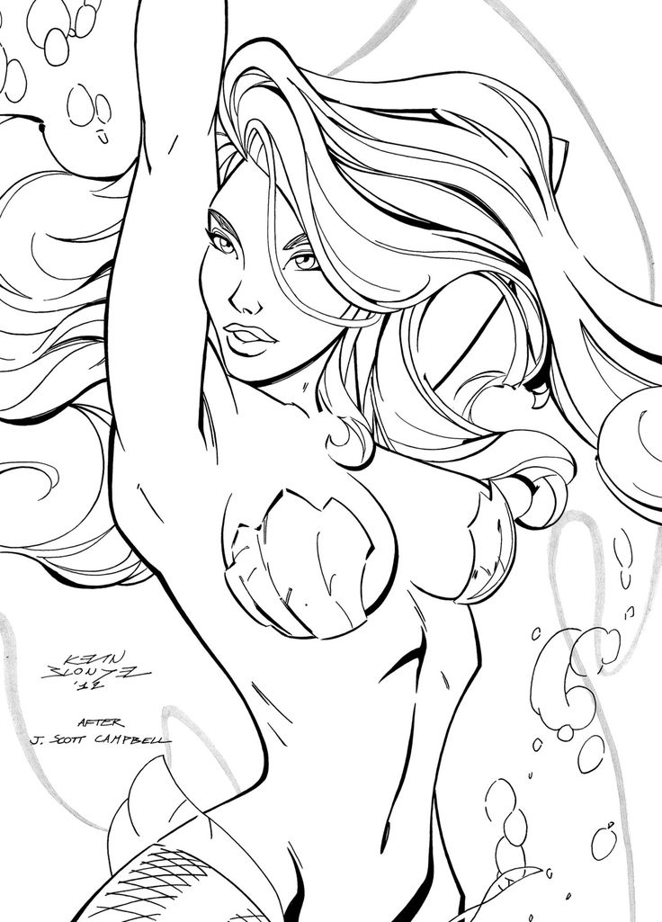 Realistic mermaid coloring page beauty