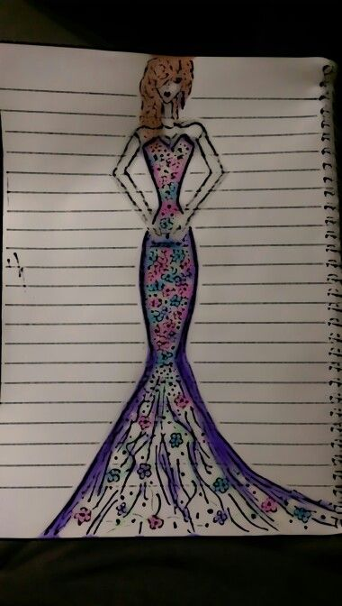 #fashion #how #to #draw #my #dress #flowers #purple #pin #blue