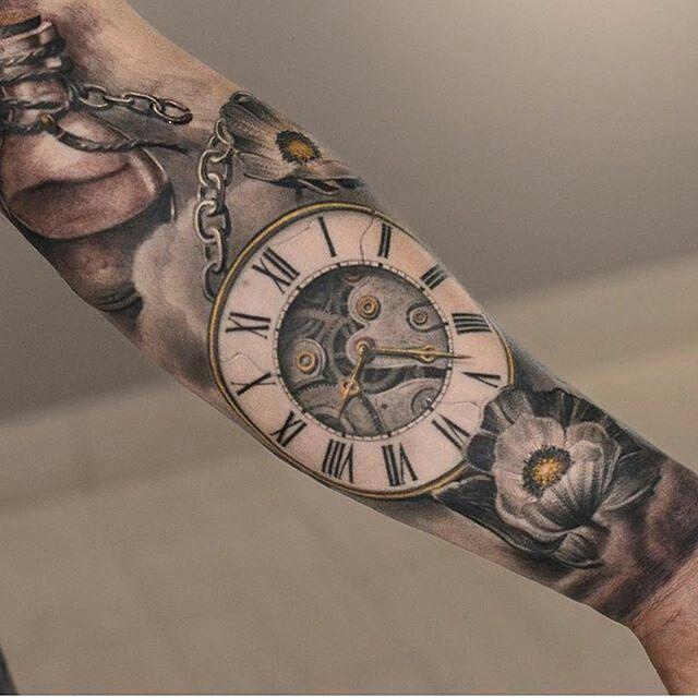 """3,172 Likes, 69 Comments - TattooSnob (@tattoosnob) on Instagram: """"Clock tattoo by @darwinenriquezat @lastritestattoo in New York City, NY #darwinenriquez #lastrites…"""""""