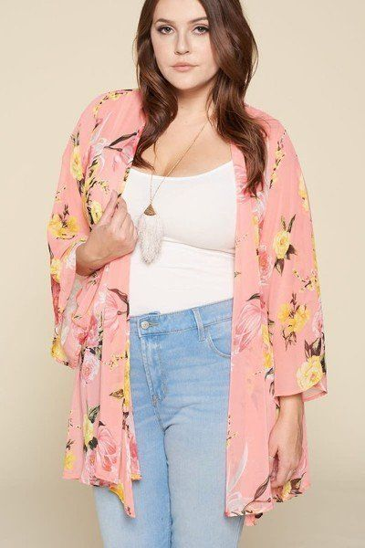 """Made In U.S.A 1XL.2XL.3XL Plus Size Floral Printed Oversize Flowy and Airy Kimono with Dramatic Bell Sleeves 100% Polyester Coral EME Plus Size Floral Printed Oversize Flowy And Airy Kimono With Dramatic Bell Sleeves split Measurements: SIZE SLength:30"""" Waist:50"""" Bust:50"""" split split Boho Fashion, Fashion Outfits, Fashion Design, Online Fashion Boutique, Plus Size Tops, Cardigans For Women, Plus Size Fashion, Bell Sleeves, Floral Prints"""