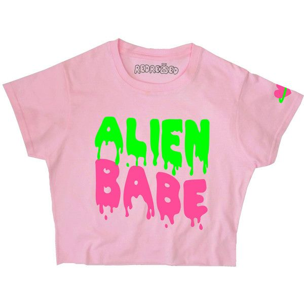 Alien Babe Crop top 90s Space Slime Grunge Planet Heart Kawaii Pastel... ($19) ❤ liked on Polyvore featuring crop top