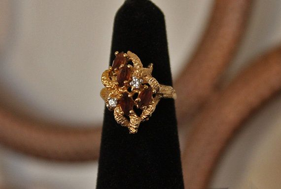 Vintage Gold Ring Vintage 18kt HGE Ring Brown by XtremeVintage