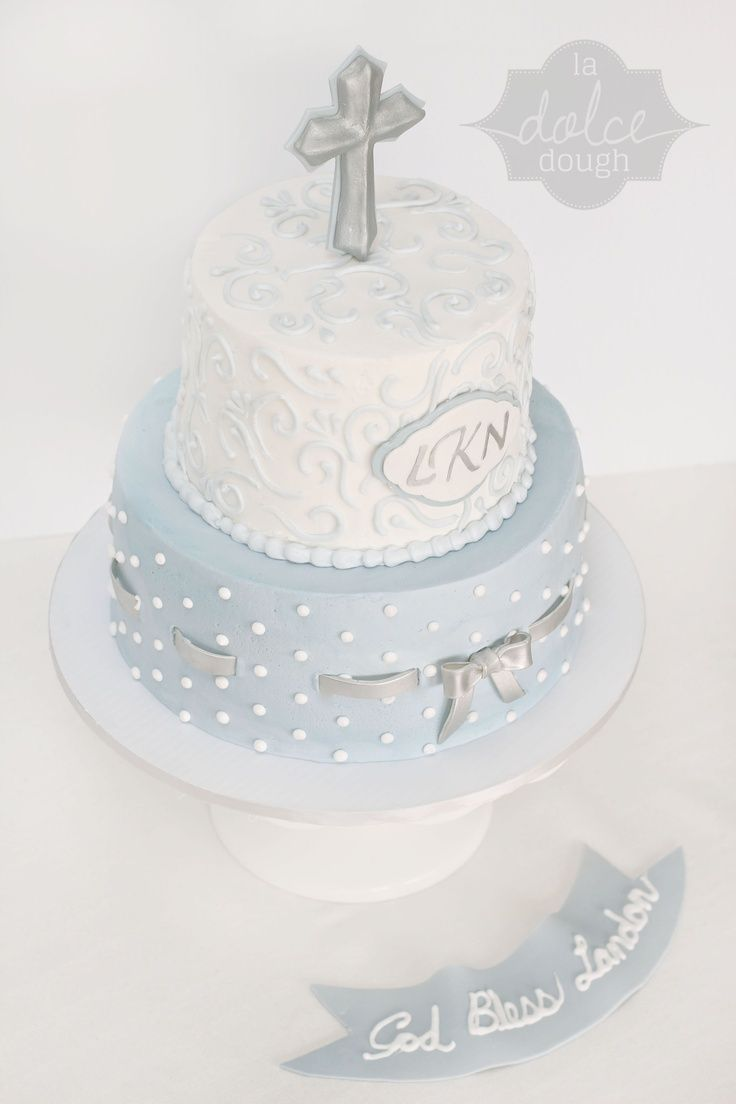 Blue and Silver Boy's Baptism Cake - La Dolce Dough, Sylvania Ohio