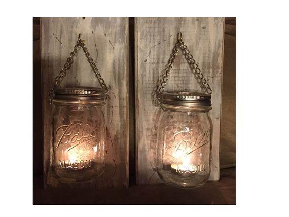 Rustic Wooden Sconces Pint Mason Jars by Photokittytreasures