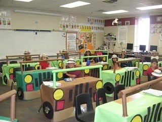 "I do not believe the students created the cars because they are all the same and too perfect, but it is a cute idea.  ""I had a student teacher once that had the kids create cars out of cardboard boxes as part of a kindergarten transportation unit. Then on Friday they all went to the ""drive in"" and ate popcorn in their cars.great teaching blog"""
