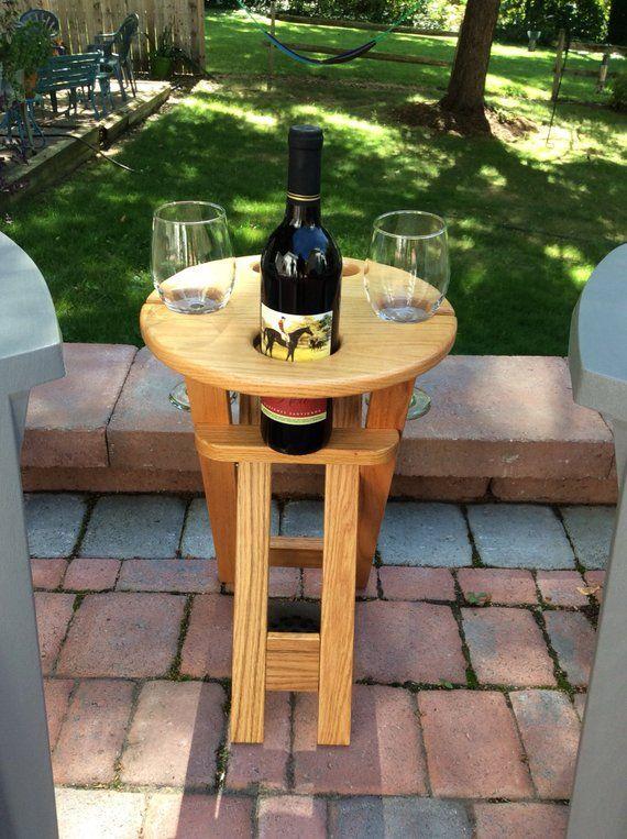 Vin Pliant Et Table De Patio De Boissons Etsy Outdoor Wine Table Folding Wine Table Wine Table