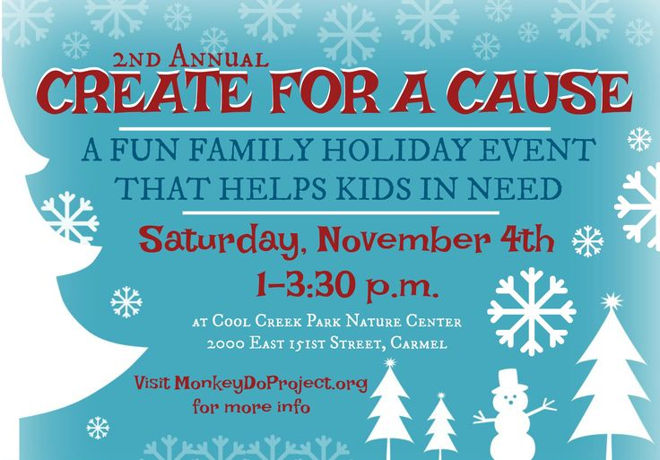 JOIN US FOR THE 2ND ANNUAL CREATE FOR A CAUSE EVENT A FUN FAMILY HOLIDAY EVENT THAT HELPS KIDS IN NEED Meet us in THE ELF WORKSHOP at Cool Creek Park Nature Center (Carmel) to decorate backpacks fo…
