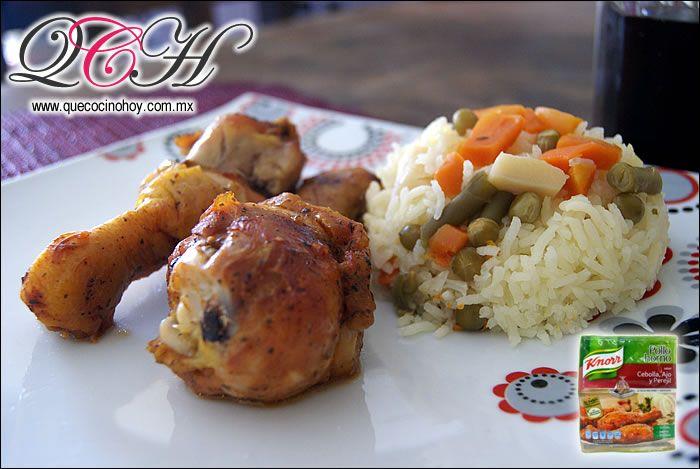 Pollo al Horno con Knorr Suiza acompañado de arroz / Comida casera, fácil de preparar.
