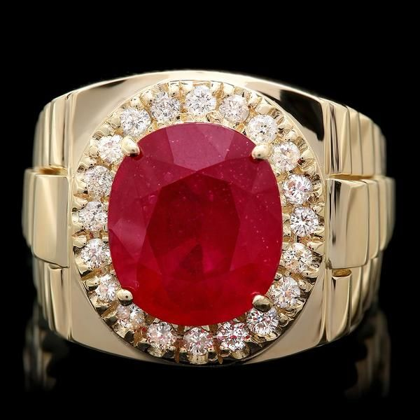 14k oro amarillo 8.50ct rubí 0.60ct anillo de diamantes para hombre   – Ruby diamond rings
