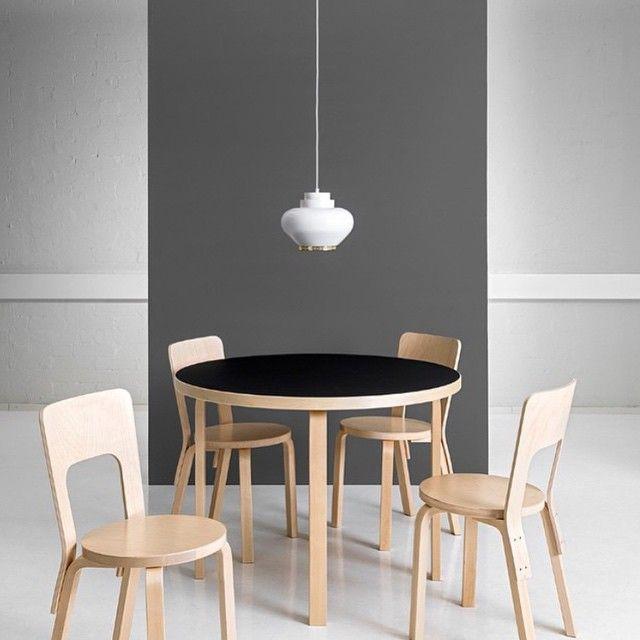 Artek Table 90A, Chair 66 and Pendant Light A333. Alvar Aalto. Photo @artekglobal #artek #anibou