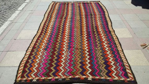 "MODERN Bohemian Turkish Kilim Rug Carpet, Handwoven Kelim Rug,Antique Kilim Rug,Decorative Kilim,Funky Vibrant Colors 71,6"" x 137,7"""