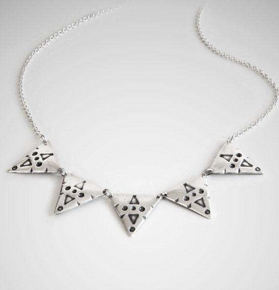 Silver Tribal Necklace, 5 Triangle Necklace  Earthy and funky, this tribal inspired necklace is sure to catch everyones attention. With its bold