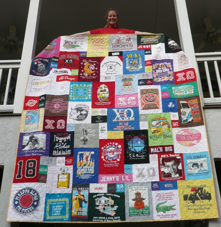 Chi Omega T-shirt Quilt!  I will def be making one of these!