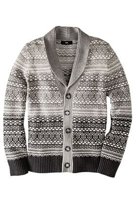 Upgrade his weekend wardrobe with Mossimo for @Target 's cozy Fair Isle cardigan.