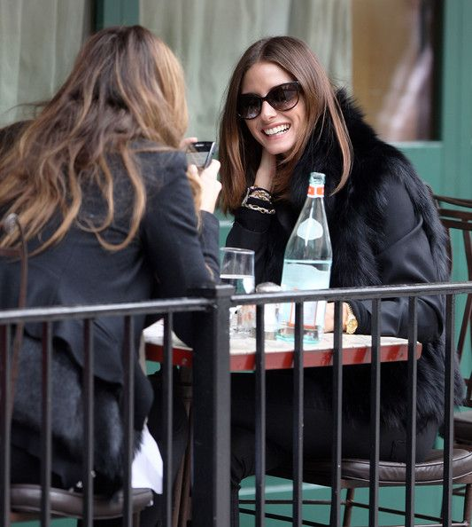 Olivia Palermo Photos - Olivia Palermo has lunch with a friend at Sant Ambroeus restaurant in the West Village, NYC. A bald headed guy tried to pick Olivia up for a future date but he didn't have much luck but she was a good sport about it. Then she hails and jumps into a cab... Mandatory credit: Brian Flannery/FlynetPictures.com - Olivia Palermo Out For Lunch With A Friend In New York