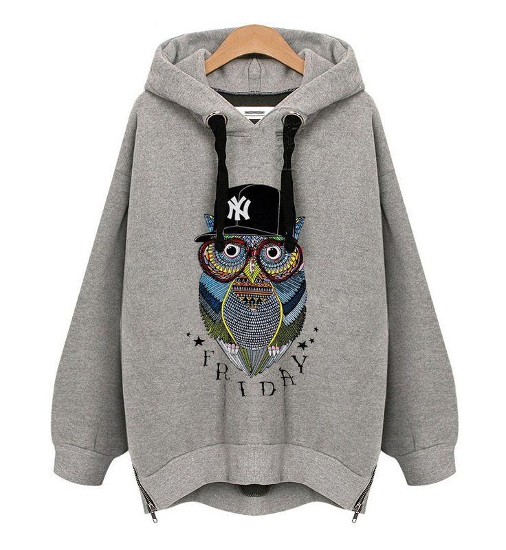 Women classic fashion casual hoodie owl print long sleeve loose hooded coat plus  size ladies winter warm coat free