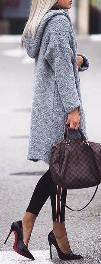 #winter #outfits gray fur topcoat and Damier Ebene Louis Vuitton 2-way handbag