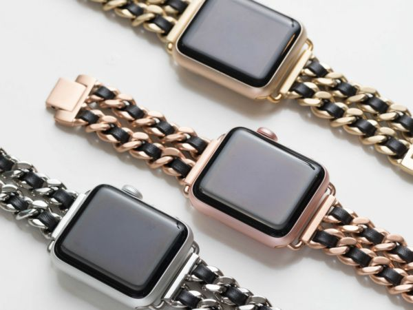 Chainlink & Leather Band for the Apple Watch - Bezels & Bytes I think I like the rose gold/tan and second the gold/tan or rose gold/black