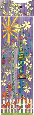 "Painted Peace 6' ""Gather Friends"" Birdhouse Art Pole by Stephanie Burgess"